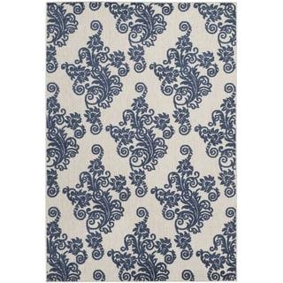 Safavieh Cottage Laverna Indoor/ Outdoor Rug (53 x 77 - Light Grey/Royal Blue)