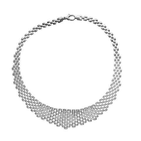 Sterling Essentials Italian Rhodium Plated Silver Cubic Zirconia Graduated Panther Link Necklace