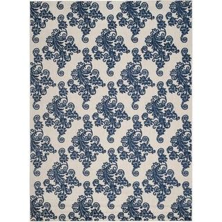 Safavieh Cottage Laverna Indoor/ Outdoor Rug (8 x 112 - Light Grey/Royal Blue)