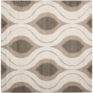 Safavieh Florida Shag Cream/ Smoke Geometric Ogee Square Rug (4' Square)