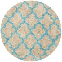 Safavieh Handmade Barcelona Shag Cream/ Blue Trellis Polyester Rug - 5' Round