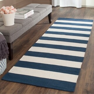 Shop Safavieh Hand Woven Montauk Navy Ivory Cotton Rug