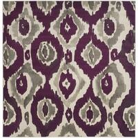 "Safavieh Porcello Abstract Ogee Ivory/ Purple Rug - 6'7"" x 6'7"" square"