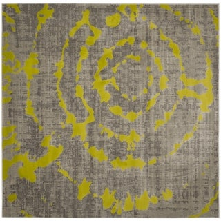 Safavieh Porcello Abstract Contemporary Light Grey/ Green Rug (6'7 Square)