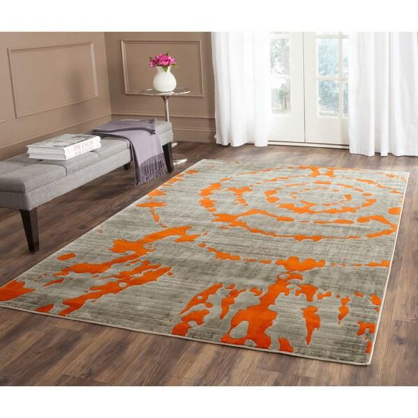 "Safavieh Porcello Abstract Contemporary Light Grey/ Orange Rug - 6'7"" x 6'7"" square"