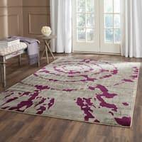 Safavieh Porcello Abstract Contemporary Light Grey/ Purple Rug (6'7 Square)