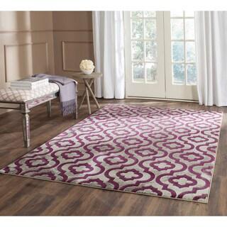 Safavieh Porcello Contemporary Moroccan Light Grey/ Purple Rug (6'7 Square) - 6'7 x 6'7