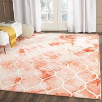 Safavieh Handmade Dip Dye Watercolor Vintage Orange/ Ivory Wool Rug - 7' Square