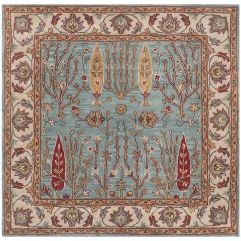 Safavieh Handmade Heritage Timeless Traditional Blue/ Ivory Wool Rug - 6' x 6' Square