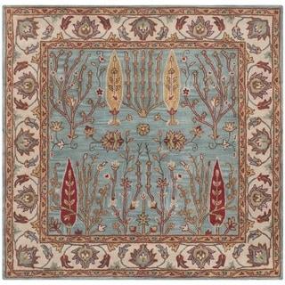 Safavieh Handmade Heritage Timeless Traditional Blue/ Ivory Wool Rug (6' Square)