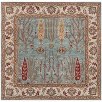 Safavieh Handmade Heritage Timeless Traditional Blue/ Ivory Wool Rug - 6' Square