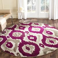 "Safavieh Porcello Abstract Ogee Ivory/ Purple Rug - 6'7"" x 6'7"" round"