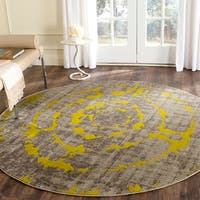 Safavieh Porcello Abstract Contemporary Light Grey/ Green Rug - 6'7 Round