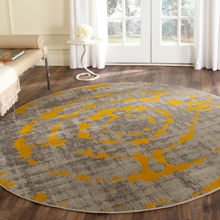 Safavieh Porcello Abstract Contemporary Light Grey/ Yellow Rug (6'7 Round)