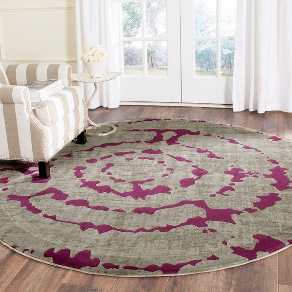 Safavieh Porcello Abstract Contemporary Light Grey/ Purple Rug - 6'7 Round