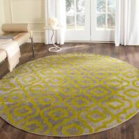 Safavieh Porcello Contemporary Moroccan Light Grey/ Green Rug - 6'7 Round
