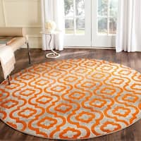 Safavieh Porcello Contemporary Moroccan Light Grey/ Orange Rug (6'7 Round) - 6'7