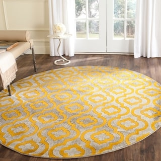 Safavieh Porcello Contemporary Moroccan Light Grey/ Yellow Rug (6'7 Round)|https://ak1.ostkcdn.com/images/products/10267757/P17384617.jpg?impolicy=medium