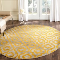 Safavieh Porcello Contemporary Moroccan Light Grey/ Yellow Rug - 6'7 Round