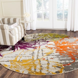 Safavieh Porcello Contemporary Floral Ivory/ Grey Rug (6'7 Round)