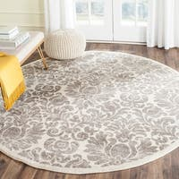 Safavieh Porcello Glam Damask Grey/ Ivory Rug - 6'7 Round