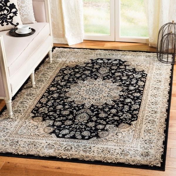 Safavieh Persian Garden Black/ Ivory Viscose Rug - 6'7 x 9'2