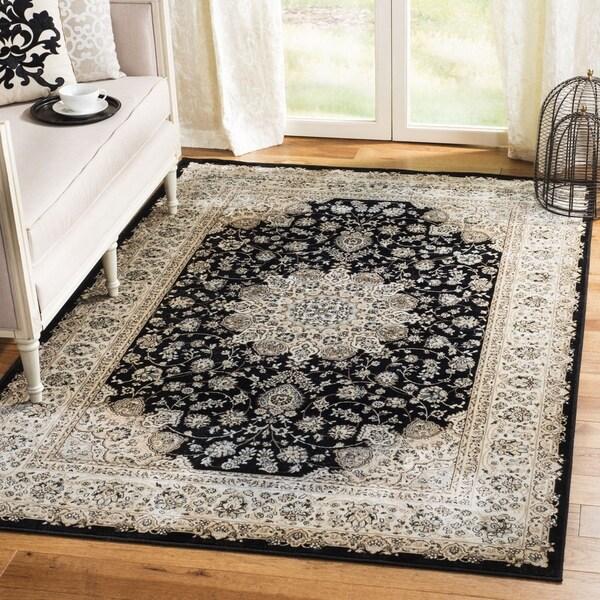 Safavieh Persian Garden Black/ Ivory Viscose Rug (6'7 x 9'2)