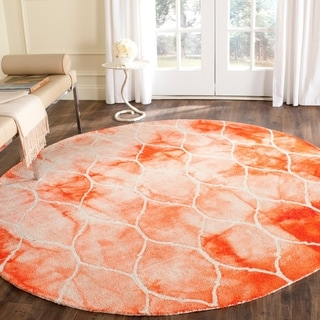 Safavieh Handmade Dip Dye Watercolor Vintage Orange/ Ivory Wool Rug (7' Round)