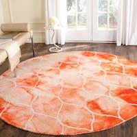 Safavieh Handmade Dip Dye Watercolor Vintage Orange/ Ivory Wool Rug - 7' Round