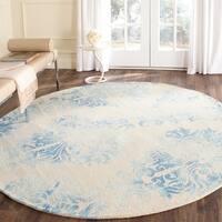 Safavieh Handmade Dip Dye Watercolor Vintage Beige/ Blue Wool Rug - 7' Round