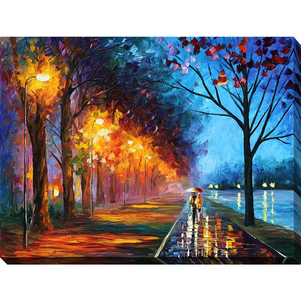 Leonid Afremov 'Alley By The Lake' Giclee Print Canvas Wall Art