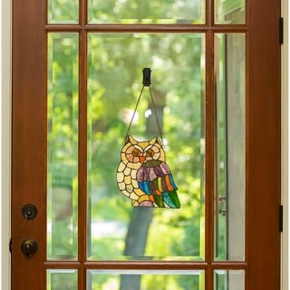 River of Goods 11-inch Tiffany Style Stained Glass Hoot's Owl Window Panel