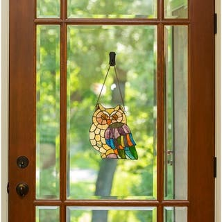 River of Goods 11-inch Tiffany Style Stained Glass Hoot's Owl Window Panel - S