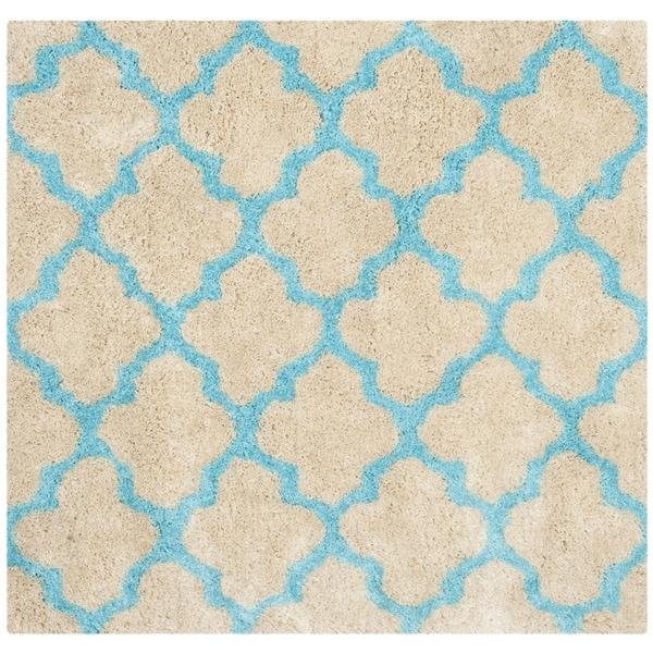 Safavieh Handmade Barcelona Shag Cream/ Blue Trellis Polyester Rug - 5' Square