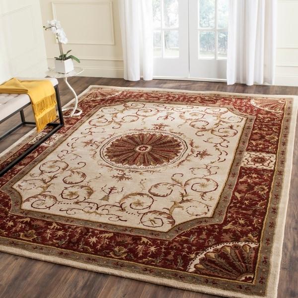 """Safavieh Handmade Empire Ivory/ Red Wool Rug - 7'6"""" x 9'6"""""""