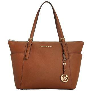 Michael Kors Jet Set Luggage Brown Saffiano Top Zip Tote Bag