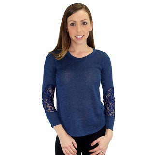 Relished Women's Jacinthe Navy Lace Sleeve Top