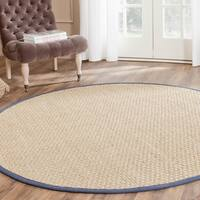 Safavieh Casual Natural Fiber Natural and Blue Border Seagrass Rug - 6' Round