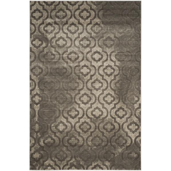 Safavieh Porcello Contemporary Moroccan Grey/ Dark Grey Rug - 8'2 x 11'