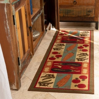 "Ottomanson Dark Green Vegetable Runner Rug (20"" x 59"")"