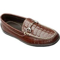 Men's David Spencer Croco Horse Bit Driver Brown Croco Leather