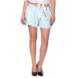 Da Nang Womens Hot Pants Unstructured Silk Shorts Studded