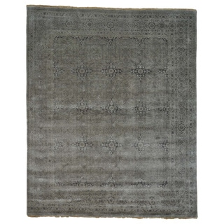 Hand-knotted Wool/ Silk Silver Oushak Oriental Rug (8' x 9'7)