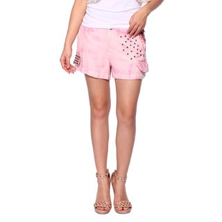 Da Nang Women's Silk Blend Pink Stud Shorts