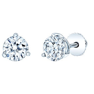 Estie G 14k White Gold 1 7/8ct TDW Round Diamond Stud Earrings (J-K, VS1-VS2)