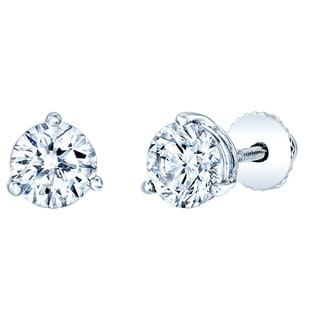 Estie G 14k White Gold 1 7/8ct TDW Round Diamond Stud Earrings (J-K, VS1-VS2)
