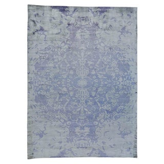 Hand-loomed Ivory Rayon from Bamboo Silk Modern Oriental Rug (8'10 x 12'2)