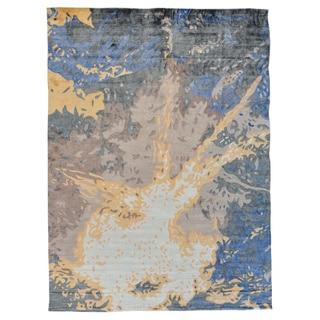 Hand-loomed Rayon from Bamboo Silk Modern Oriental Rug (9' x 12'1)