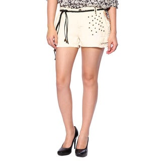 Da Nang Women's Unstructured Silk Blend Stud Beige Shorts