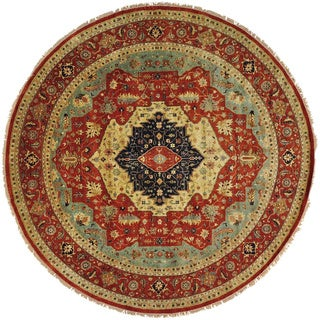 Handmade Round Antiqued Heriz Recreation Oriental Rug (11'8 x 11'8)